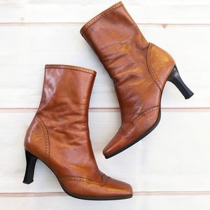 Pitti | Leather Square Toe Heeled Boots, Sz 6.5 EE